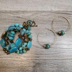 Turquoise Bracelet and Hoop Earrings